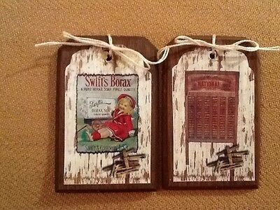 5 PRiM WOODEN Vintage Laundry Room Ornaments/Hang Tags/ORNIES/GiftTags SETk