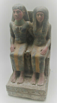 Beautiful Antique Egyptian Stone Statuette Of Two Rulers With Heiroglyphics