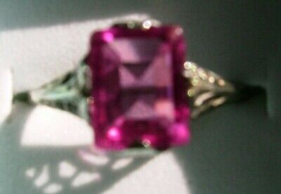 Antique Sterling Silver Filigree Ring with 9x6mm Pink Sapphire Size 7.5