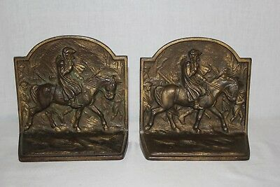 Vintage Hubley Cast Metal Bronze Plated George Washington Bookends 234