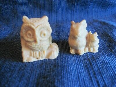 """Natural Soapstone 3d Carved Sitting Rabbit w/ Baby & Owl 1.5"""" Lot 2"""