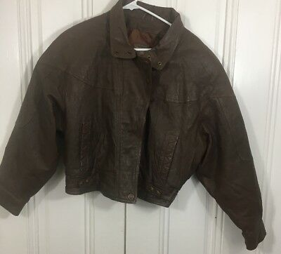 Vintage Adventure Bound Womens XL Cropped Leather Bomber Jacket Brown Motorcycle