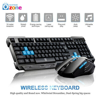 2019 2.4GHz Wireless Gaming Keyboard And Mouse Set Bundle 6 Key For Laptop PC
