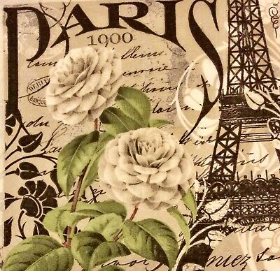 3 Paper Napkins for Decoupage / Parties / Weddings - Paris 1900