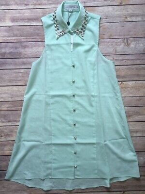 Finders Keepers Blue Button Up Studded Collar Fashionable Shirt Dress $135~Sz S