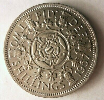 1957 GREAT BRITAIN FLORIN - AU - High Value Coin - FREE SHIP - HV25