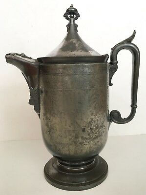 Antique REED & BARTON  01255 Water Pitcher Seamless Lining Etched Silverplate