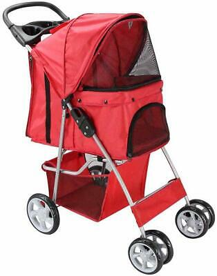 Pet Travel Stroller Dog Cat Pushchair Pram Jogger Buggy With 4 Wheels Red