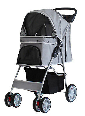 Pet Travel Stroller Dog Cat Pushchair Pram Jogger Buggy With 4 Wheels Grey