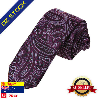 Black Mens Skinny Neck Ties Set Purple Paisley Sale Slim Tie Dan Smith DAE7B18J