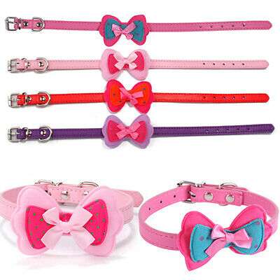 Small Dogs Pet Collar Flower Dog Puppy Necklace PU Leather Cat Collar Neck Band