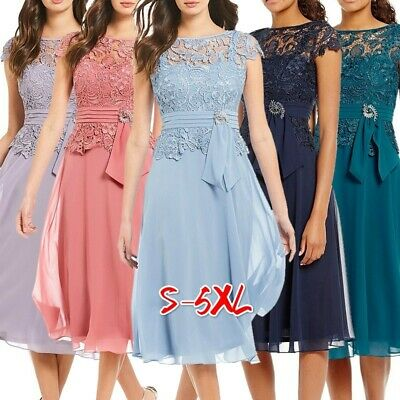 UK Plus Size Lace Chiffon Dress Knee-length Hollow Women Lace Party Prom Dresses