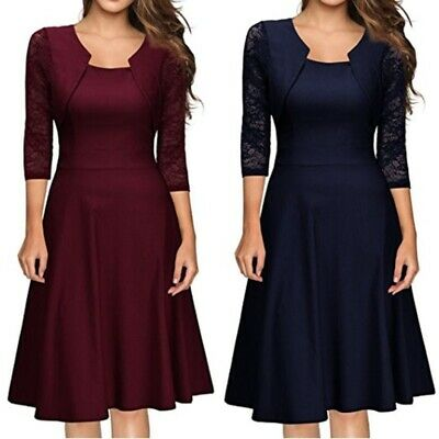 UK Womens Dresses Vintage Square Neck Floral Lace Cocktail Slim Swing Prom Dress