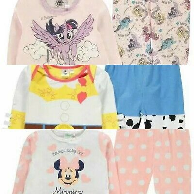 Disney Baby Girls Character 2 Piece Pyjama Set Footlets Pjs Christmas Gift Cute