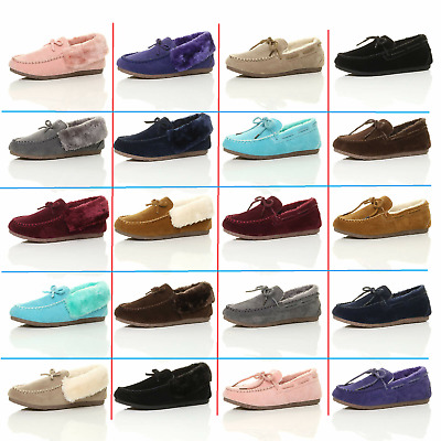 Ladies Womens Winter Shoes Soft Warm Outdoor Faux Fur Moccasins Slippers Sizes