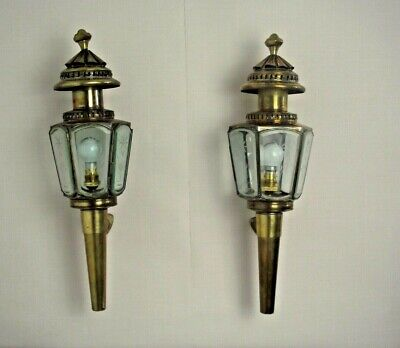 Pair Antique French Coach Lanterns Brass & Copper Etched Glass Wall Mounted 1551