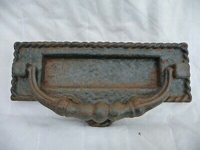 Antique Iron Letterbox door Knocker Posting Slot Post Flap Architectural Design
