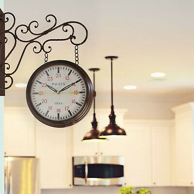 Walplus Vintage Style Iron Garden Wall Clock Decals Office Restaurant Hotel Deco