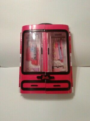 """Mattel Barbie Doll Furniture 2015 Pink Closet Plastic Carrying Case 13"""" Used"""