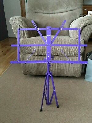 Purple folding music stand with case