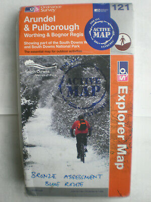 121 Arundel & Pulborough   Active Waterproof  Explorer, Ordnance Survey Map, Os