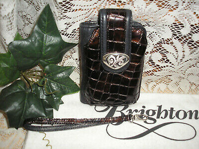 Brighton Black Leather/Brown Croc Wallet/Cell Phone Case/ Wristlet W/Strap  EUC