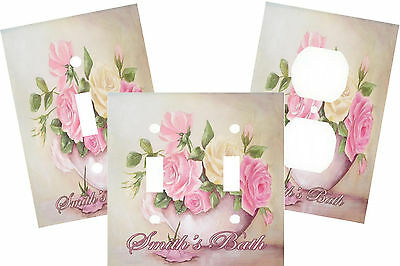 Personalized Vintage Shabby Roses Pink & White Chic Light Switch Plate Cover