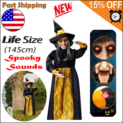Halloween Life Size Animated Witch Red LED Eyes and Spooky Sounds Decorations
