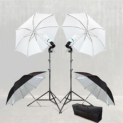 Umbrella Reflector w/ Flash Mount White, Silver Stand Lighting Kit Photography