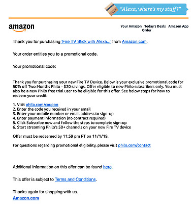 50% off Two Months Philo - $20 savings - (Promo Code from Amazon)