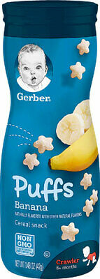 Gerber puffs banana cereal snacks *** 3 X containers per order ***free shipping