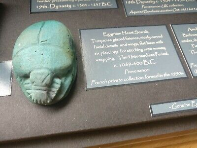 Genuine Egyptian Turquoise Heart Scarab c.1069bc-600bc