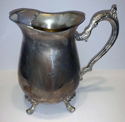 Vintage Silver Plated Footed Water Pitcher With Ice Lip
