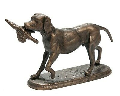 Cast Iron Model Figure of a Labrador Gun Dog with Pheasant on Oval Base