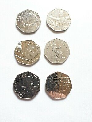 Rare 50p Coins X6 and in collectable condition please see description . Lot 8