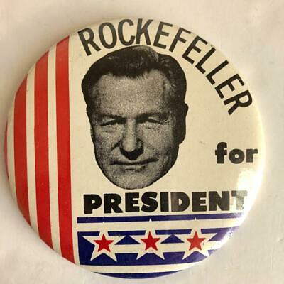 """LARGE 6/"""" 1960s NELSON ROCKEFELLER OF NY PICTURE CAMPAIGN BUTTON"""
