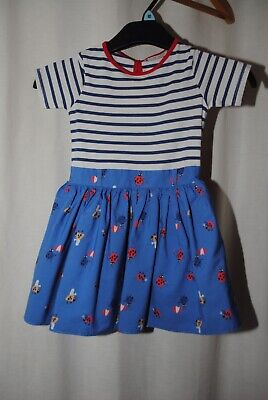 NEXT Girls White & Blue Insect Pattern Short Sleeve Dress Age 4 Years