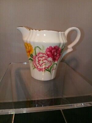"Royal Standard ""Harmony"" Mini Creamer Pink & Yellow Floral on White Gold Trim"