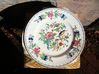 "Fine Set Of 10 Aynsley Bone China Dinner Plates ""Pembroke"" Pattern With Gold,Vgc"