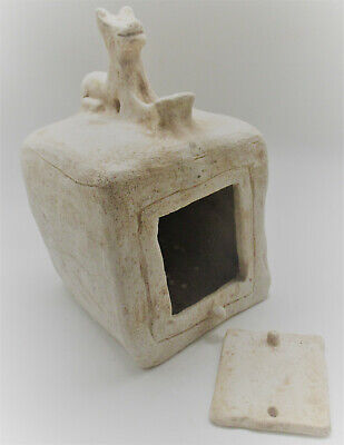 Ancient Egyptian Ceramic Tomb Box With Bastet Resting On Top Circa 1000-500Bce