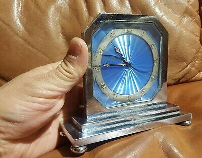 Art Deco 8 day Swiss Blue Guilloche Enamel Clock 1920 Very Rare