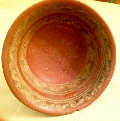 Pre-Columbian Decorated  Pottery Bowl MesoAmerican
