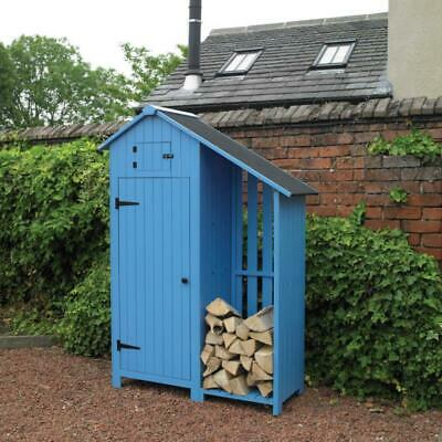 Kingfisher Wooden Garden Shed with Log Store Outdoor Blue Tool Shed - SHEDLS