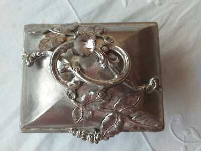 Jewelry Box Lovely Antique Silver Plate  Lidded Jewelry Trinket Floral Design