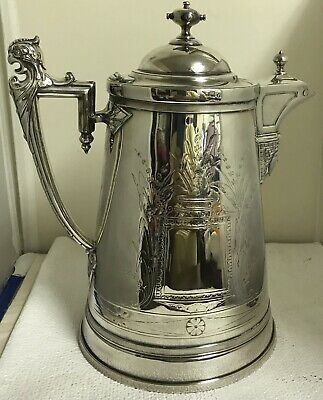 1854 James Stimpson Reed & Barton Silver Water Pitcher-Kettle EGYPTIAN Beauty!