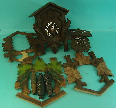 Lot of Vtg Early Black Forest Cuckoo Clock Parts & Movements Made In Germany