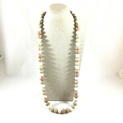 "Vintage Shades of Brown Beige & Grey Plastic Bead Necklace 30"" Long"