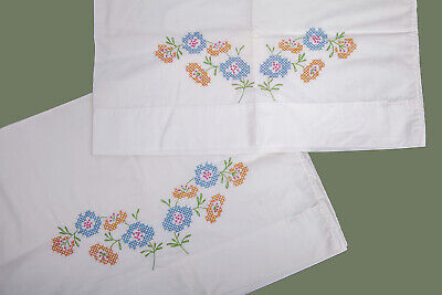 Vintage Pair of Pillowcases Embroidered Floral Orange Blue Green Flowers