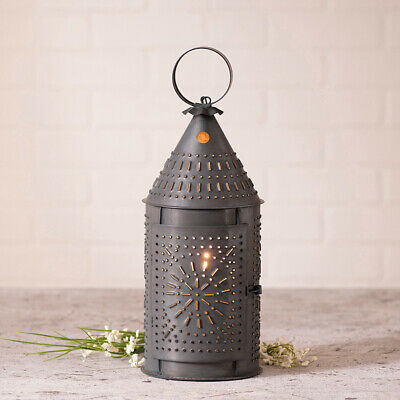"""Country Tinware Electric 15"""" Revere Corded Lantern in Blackened Tin Accent Light"""