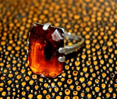 Antique Art Deco Sterling Silver Amber Glass Stunning Lovely Ring